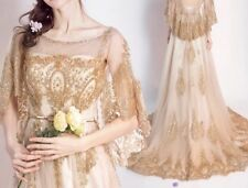 New Gold Butterfly  Sleeves Wedding Bridal Formal Dress Gown