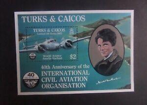 Turks & Caicos 1985 40th ann Civil Aviation aircraft MS838 MNH UM unmounted mint