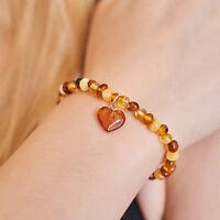 Genuine Natural Baltic Amber Bracelet Heart Pendant Silver Multicolour Gift