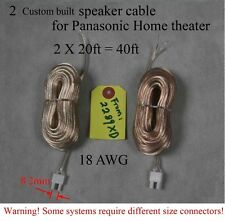 2x 20ft Speaker wires/cables 8.2mm made for select Panasonic home theater; Read!