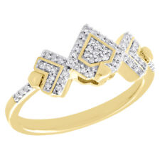 Right Hand Fashion Ring 0.17 Ct. 10K Yellow Gold Cluster Diamond Triple Triangle