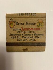 Vintage Matchbook Reese House Restaurant Landmark Best Western Denver Colorado