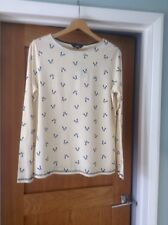NEXT Yellow And White Striped Dog Print Long Sleeve Top, Size 14 New