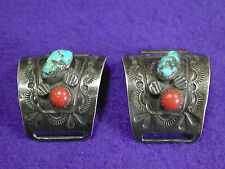 Vintage Navajo Silver Turquoise Coral Men's Watch Tips Signed Arthur J Williams