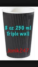 250 Triple Ripple wall paper coffee cups , disposable coffee cups  8OZ Black