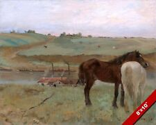 HORSES IN THE MEADOW EDGAR DEGAS FRENCH PAINTING ART REAL CANVAS GICLEE PRINT