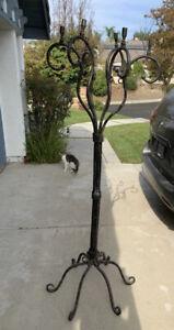 vintage wrought iron floor candelabra 6 holders 70 inch Very Heavy !