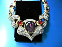 FABULOUS EISENBERG MULTI LARGE CABOCHONS & CRYSTALS GOLD TONE NECKLACE EAA9