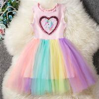 Girls Unicorn Children Kids Sequins Party Wedding Princess Summer Tutu Dresses