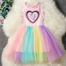 Kids Girls Princess Unicorn Rainbow Tutu Dress Party Birthday Skirt Sleeveless