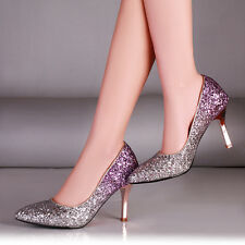 Bride's Wedding Shoes Pointy Toe Stiletto Rhinestone Bling Bling Ladies Party
