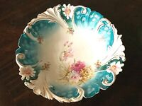 """C.1900 ~ Antique RS Prussia PINK CARNATION & """"STEEPLE MOLD"""" MINT SCROLL EDGES"""