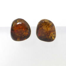 925 Sterling Silver Large Free Form Baltic AMBER Clip-on Bezel Earrings