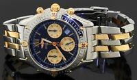 Breitling Windrider B55348 SS/18K gold 2-tone quartz men's watch w/ black dial