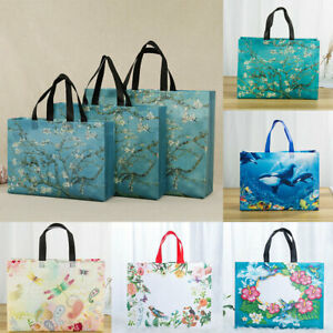 Printed Shopping Bag Foldable Reusable Tote Pouch Travel Non-woven Storage Bag