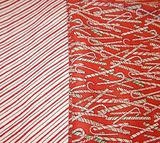 Fabric set Candy canes stripes Christmas OOP 2+ yards red green