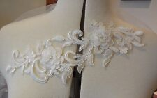 Sposa Avorio a doppio strato floreale con perline pizzo Applique Motivo in Pizzo da PC