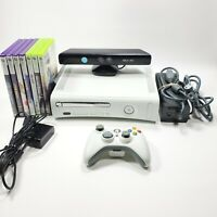 Microsoft Xbox 360 White Console With Kinect & 7 Game Bundle Preowned Tested