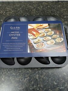 Cast Iron Oyster Pan by Sur La Table Oysters Scallops Shrimp Holds12 Kitchen NEW