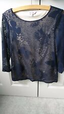 Phase Eight ladies blue/cream lace jersey top size 12