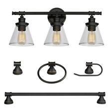 Globe Electric Parker 3-Light Oil Rubbed Bronze 5Piece All In One Bath Light Set