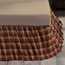 COUNTRY PRIMITIVE RUSTIC QUEEN BED SKIRT 60X80X16 VHC BRANDS ~ PRIMITIVE CHECK