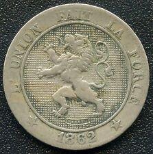1862 Belgium 5 Centimes Coin