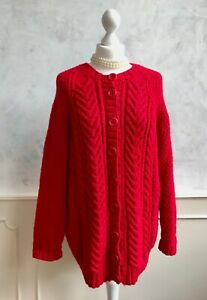 NEW - Handmade Red Wool Blend Cable Chunky Knit Oversized Blogger Cardigan Large