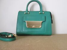 MILLY Isabella Kelly Green Pebbled Small Tote Satchel W/ Crossbody Strap *$375