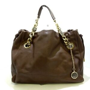 Auth BVLGARI Monete Brown Leather Womens Tote Bag