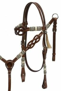 Showman CELTIC KNOT Braided RAWHIDE Leather Bridle Breast Collar & Reins SET