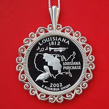 2002 Louisiana State Quarter 90% Silver Proof Coin 925 Sterling Silver Necklace