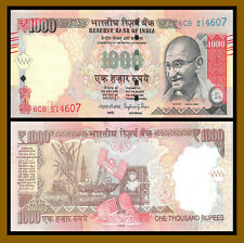 """India 1000 (1,000) Rupees, 2016 P-105 New Rupee Symbol """"Letter R"""" Ghandhi Unc"""
