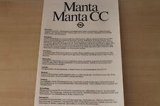 176723) Opel Manta B + CC - technische Daten & Ausstattungen - Prospekt 08/1982