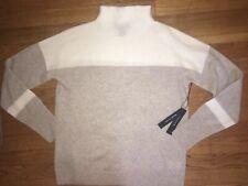 NEW ! NWT TAHARI 100% Cashmere Colorblock Mock Neck Sweater Beige/Cream Size M