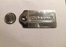 Vintage Large Coach Metal Nickel Tone Handbag Hang Tag Keychain