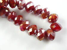 100pcs Loose Jade Red AB Glass Crystal Faceted Rondelle Spacer Beads 4x3mm