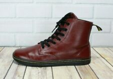 DR. MARTENS Leyton Women's Red Leather Air Wave Lace-up Ankle Boots Size 8