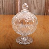 Vintage Clear Glass Diamond Pattern Lidded Bowl Compote Candy Dish