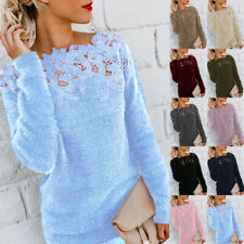 Womens Winter Warm Sweater Tops Ladies Lace Jumper Pullover Top Plus Size