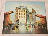 FRENCH IMPRESSIONIST OIL PAINTING OF STREET SCENE OF PARIS signed