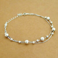 Genuine 925 Sterling Silver 3mm 5mm Ball Beads Double Layer Box Chain Bracelet