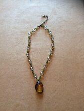 Vintage  Gold Antique Tone  Bead Gem Amber Color Pendant Necklace Unsigned