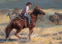 "Wall Decor Art Print Cowgirl Oil painting Giclee Printed on canvas 16""X20"" P357"