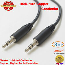 1.5 FT 3.5mm Slim Male to Male Stereo Aux Audio Cable for MP3 MP4 IPOD, 3 Packs