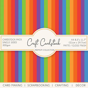 Rainbow Stripes Colourful Journaling Scrapbook Card A4 Craft 300gsm Cardstock