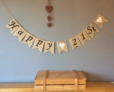 ❤️21st Birthday Bunting Banner. Vintage Hessian Burlap❤️