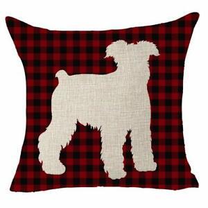 Animal Dog Schnauzer Shadow Cotton Linen Decorative  Pillow Cover Cushion