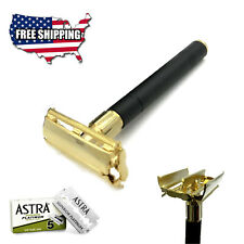 "4"" LONG HANDLE DOUBLE EDGE BUTTERFLY SAFETY RAZOR + 5 SHAVING BLADES BLACK/GOLD"