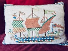 """Antique Neddlepoint Pillow Ship Sail Boat Vintage Wool 12"""" x 17"""""""
